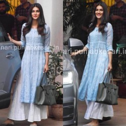 Kriti Sanon Sky Blue Color Chain Stitch worked Kurti Palazzo